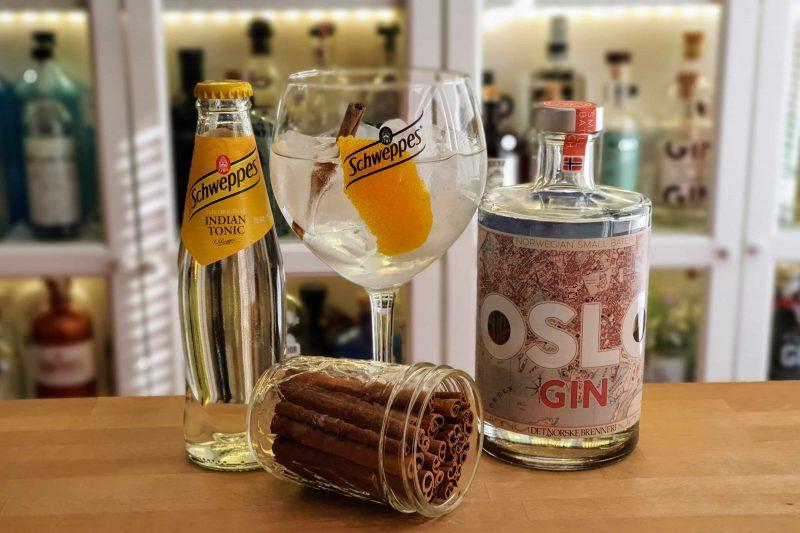 Gin og Tonic med Oslo gin, appelsinskall og kanel