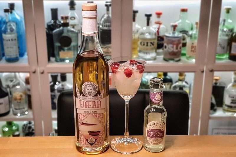 Gin og Tonic med Fjæra Rose Gin
