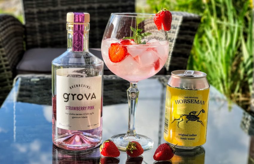 Gin og Tonic med Brennevinsgrova Strawberry Pink