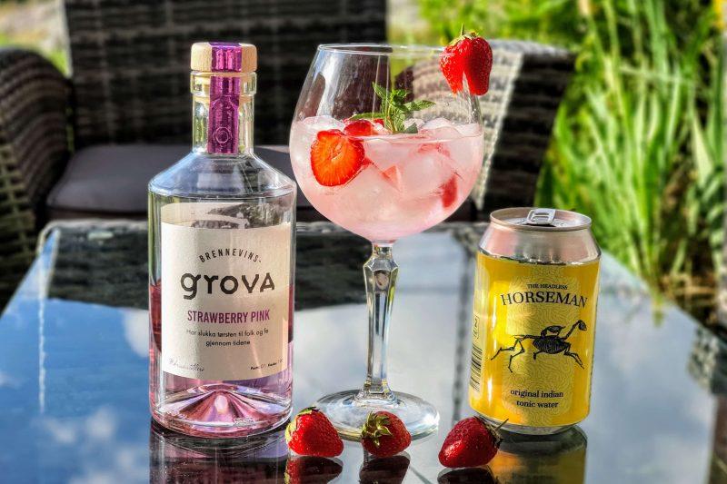 Gin og Tonic med Brennevinsgrova Strawberry Pink