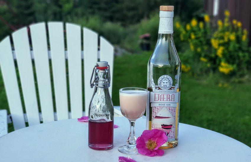 Fjæra Gin med nyperose-sirup