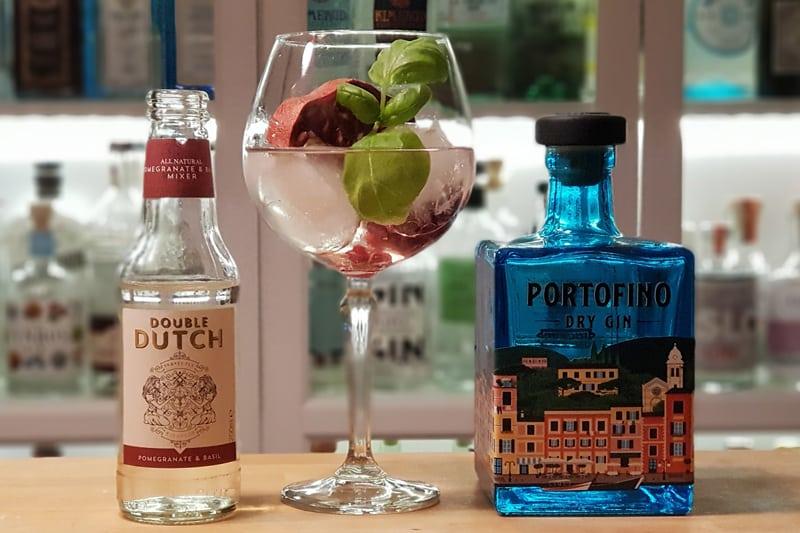 Potrofino Dry Gin med Double Dutch Pomegranate and Basil Mixer