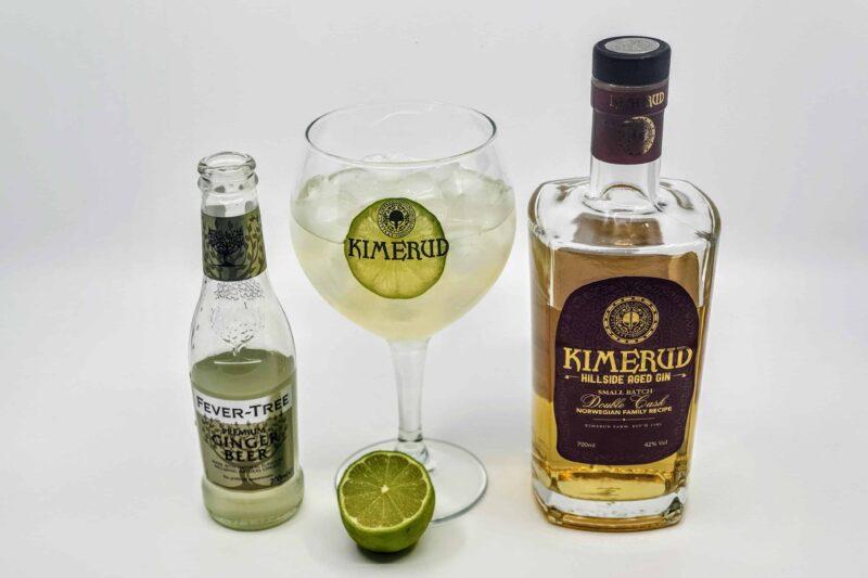 Kimerud Hillside Aged Gin og ingefærøl